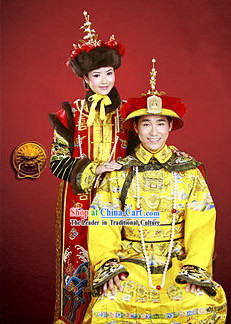 Chinese Traditional Emperor and Empress Costumes Complete 2 Sets