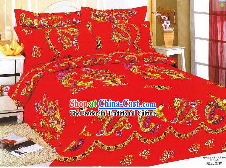 Chinese Stunning Cotton Wedding Bed Sheet Set_Four Pieces_- Dragons