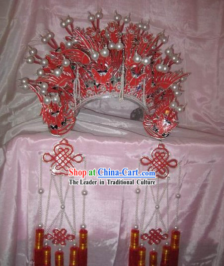 Supreme Chinese Classical Red Phoenix Crown for Bride