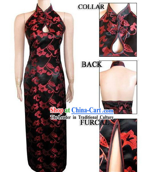 Chinese Traditional Rui Fu Xiang Black Cheongsam - Morning Glory
