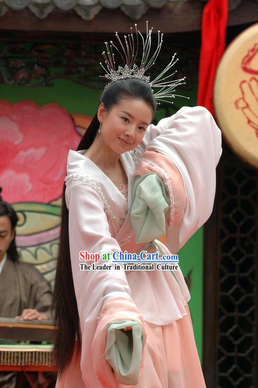 Ancient China Jin Dynasty Chinese Costume Zhu Yingtai Long Sleeve Costumes and Headpiece Set in Butterfly Lovers
