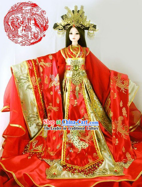 Supreme Chinese Ancient BJD Princess Wedding Clothing and Hair Decoration Complete Set for Adults