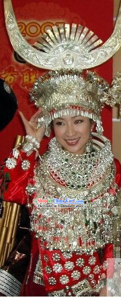 Chinese Traditional Minority Wedding Dress Complete Set for Bride