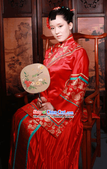 Chinese Ancient Lucky Red Wedding Dress Complete Set for Bride
