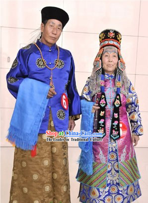 Chinese Mongolian Clothing and Mongolian Hat 2 Sets for Men and Women