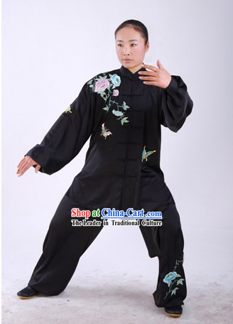 Chinese Traditional Martial Arts Embroidered Butterfly and Flower Uniform Set