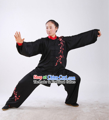 Chinese Tai Chi Embroidered Plum Blossom Blouse and Pants Complete Set