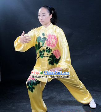 Professional Martial Arts Original Peony Painting Silk Uniform Complete Set