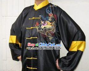 Top Embroidery Dragon Chinese Wushu Silk Uniform