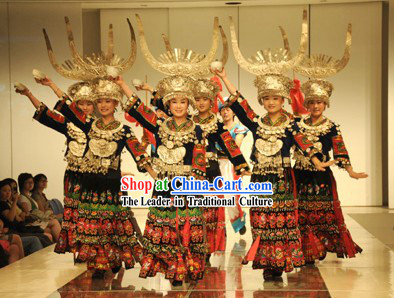 Chinese Traditional Miao Dance Costume and Miao Silver Jewlery Complete Set