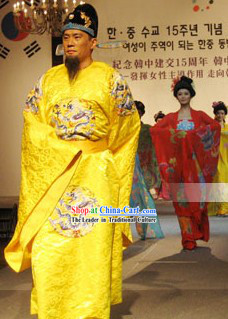 Tang Dynasty Emperor Costume and Hat Set