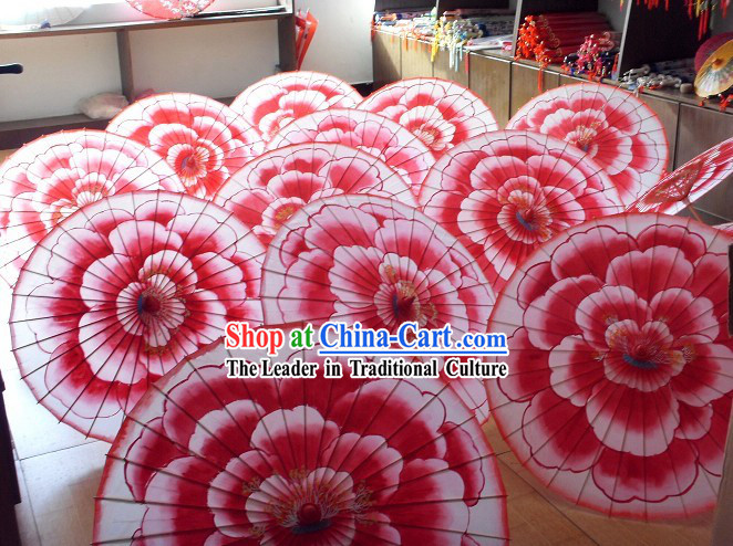 Chinese Handmade Bamboo and Silk Flower Umbrella