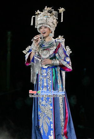 China Miao Minority Costumes and Hat Complete Set