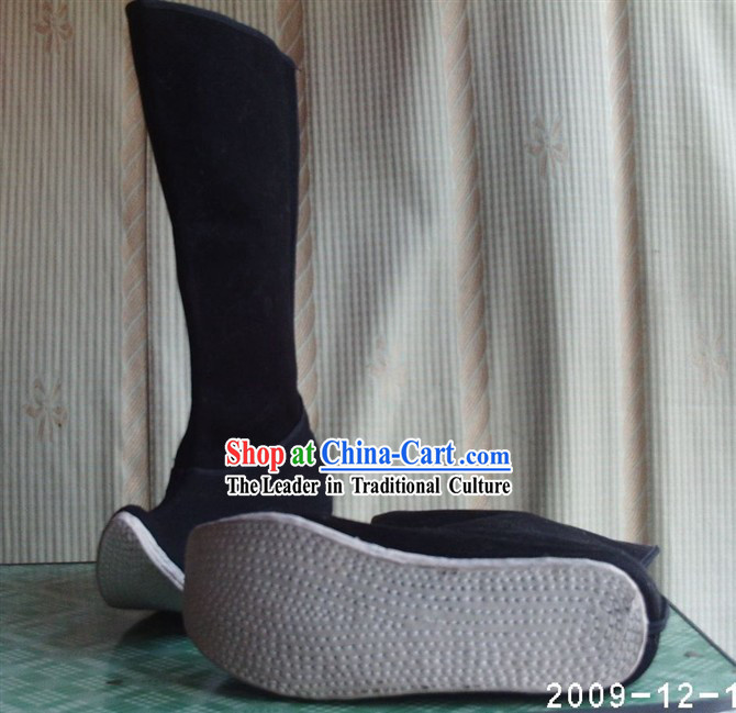 Chinese Hand Made Plain Black Opera _Jingju_ Boots for Man