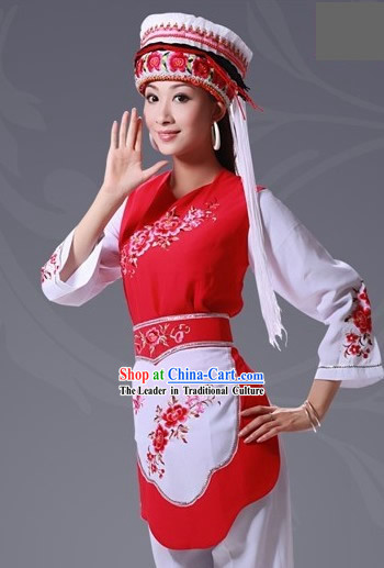 Chinese Bai Minority Folk Dance Costumes Complete Set