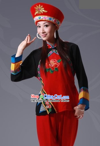 Chinese Maonan Minority Dance Costume and Hat Set