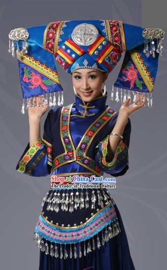 Chinese Buyi Minority Dress and Hat