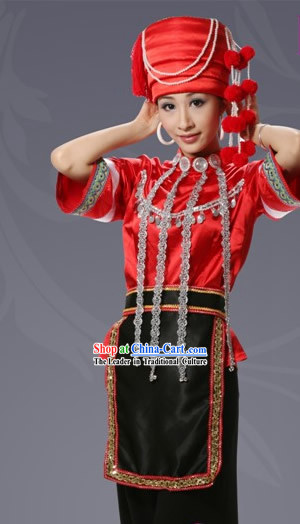 Chinese Achang Minority Costume and Hat Complete Set