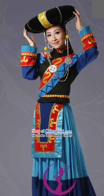 Chinese Mongolian Traditional Princess Costume and Hat for Women
