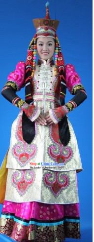 Chinese Traditional Mongolian Costume Complete Set