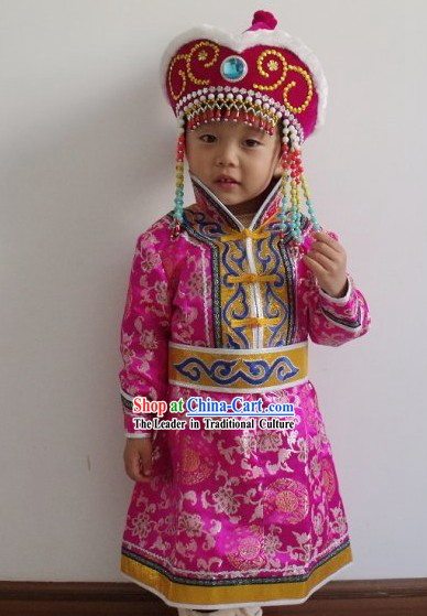 Chinese Mongolian Clothing Complete Set for Kids