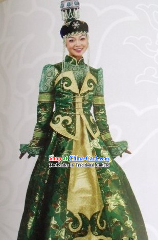 Mongolian Traditional Folk Dancing Costume for Woman