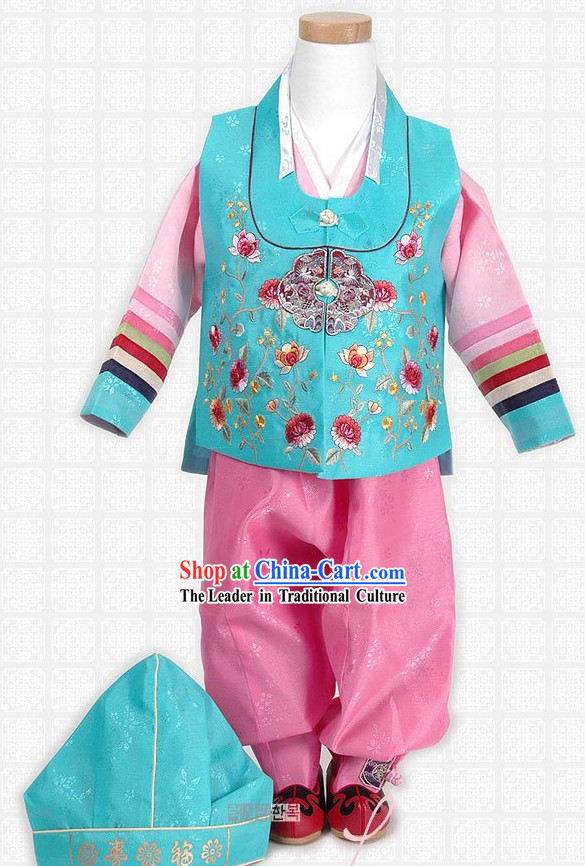 Child's First Birthday Korean Hanbok Set for Boys