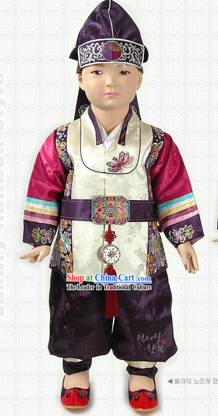 Ancient Korean Boy Hanbok and Hat Set