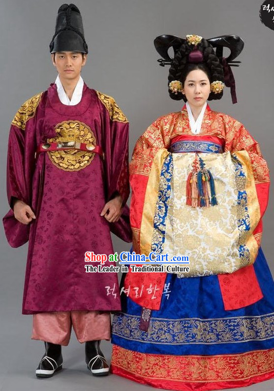 Ancient Korean Wedding Dress 2 Sets for Bride and Bridegroom