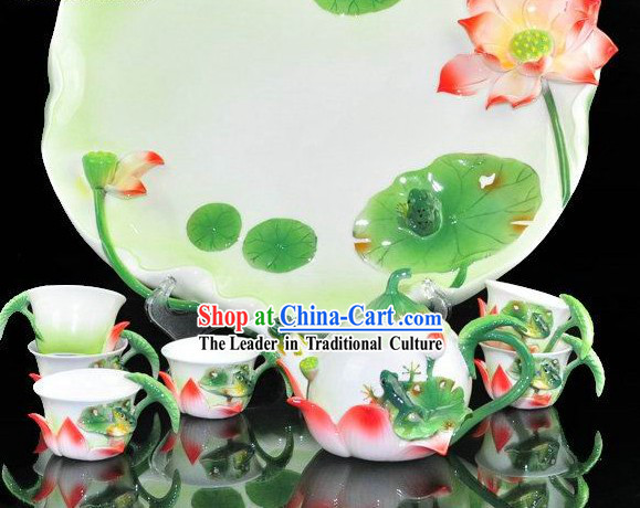Chinese Classical Lotus and Frog Ceramic Tea Set