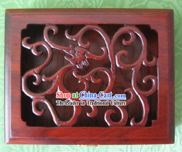 Traditional Carved Dragon Mahjong Wooden Box