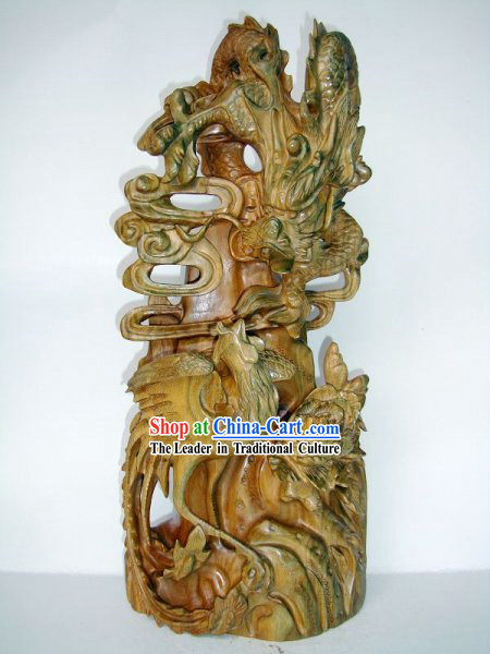 Supreme Handmade Wood Sculpture - Dragon and Phoenix