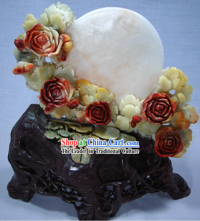 Natural Qingtian Jade Moon and Flower Sculpture