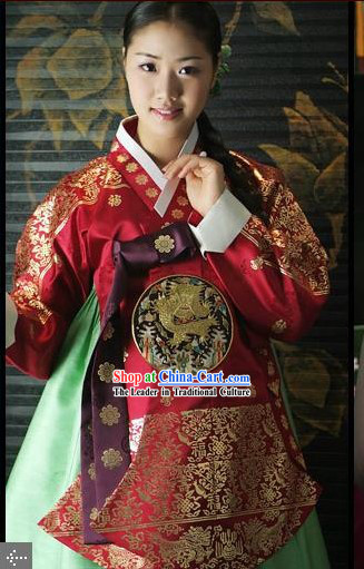 Supreme Korean Traditional Flowery Dress Hanbok Complete Set for Women