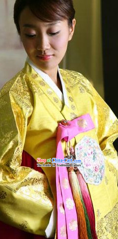 Traditional Korean Hanbok Complete Set for Women (yellow)