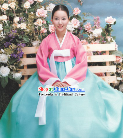 Traditional Korean Hanbok Complete Set for Women (light blue)