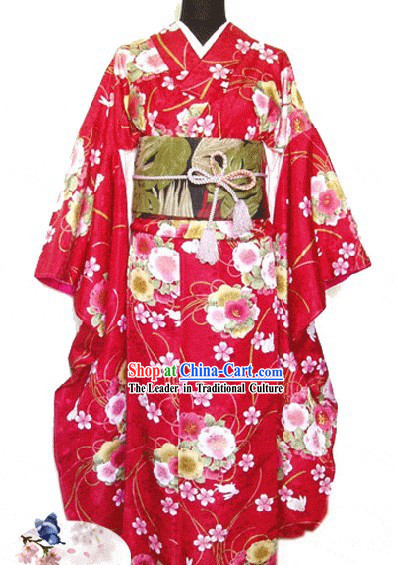 Traditional Japanese Female Kimono Complete Set