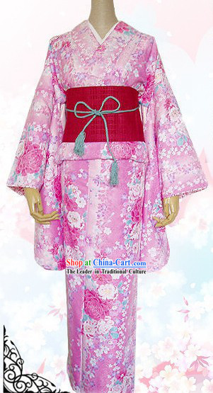 Japanese Kimono Dress, Belt, Geta and Handbag Complete Set