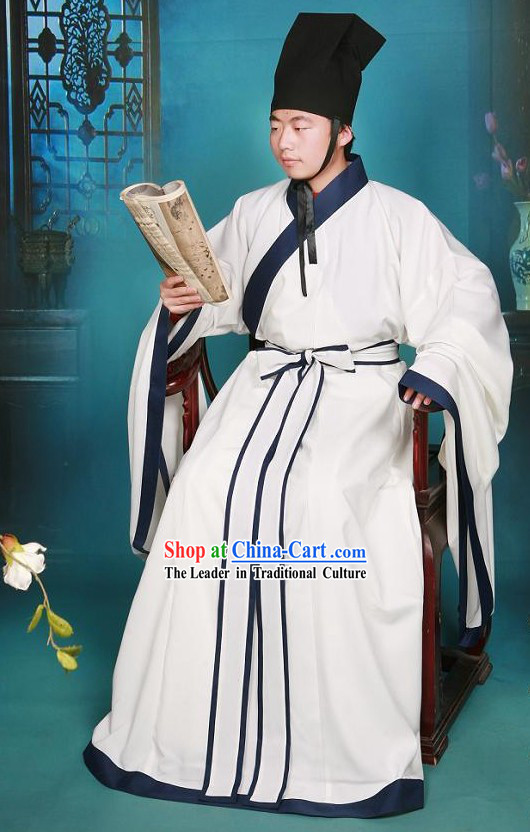 Eastern Zhou Dynasty Spring and Autumn Chinese Wise Men Confucius Kong Zi Costumes Complete Set