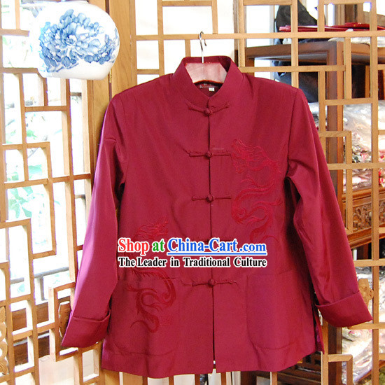 Chinese Classical Traditional Mandarin Blouse for Man-Dragon Times