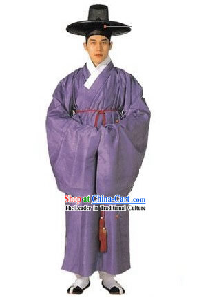 Ancient Korean Men Costumes and Hat Set