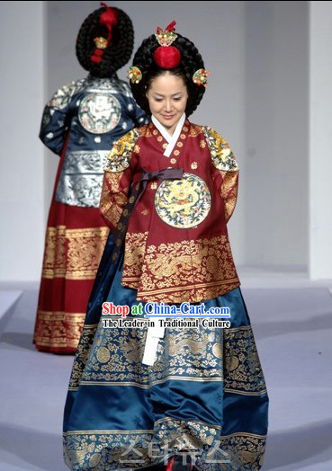 Ancient Korean Palace Empress Costumes and Wig Set