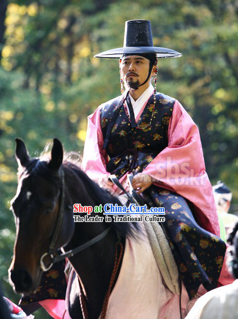 Ancient Korean Government Official Costumes and Hat Set