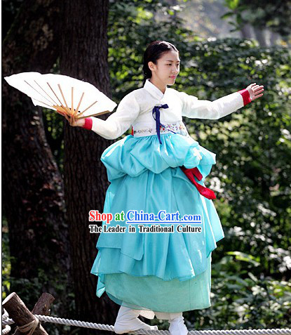 Ancient Korean Fan Dance Costumes and Fan Set