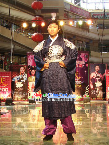 Ancient Korean Chancellor Costume and Hat Set