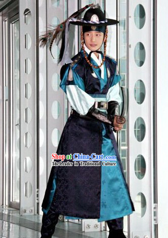 Ancient Korean Official Costume Set Korean Male Warrior Costume National Costume of Korea