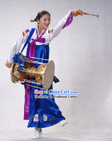 Traditional Korean Drum Dance Costumes Set