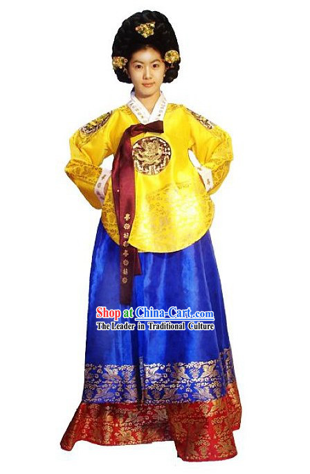 Traditional Korean Palace Costume and Wig Set