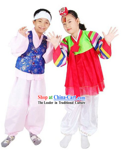 Korean Dance Costumes for Boy and Girl 2 Sets