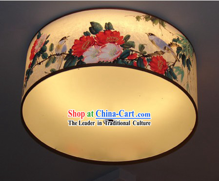 Chinese Traditional Flower and Bird Original Painting Ceiling Lantern